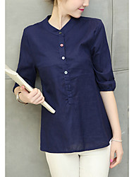 cheap -Women's Daily Cotton Shirt - Solid Colored Green
