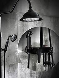 cheap -Shower Faucet - Antique Oil-rubbed Bronze Centerset Ceramic Valve Bath Shower Mixer Taps / Brass / Single Handle Three Holes