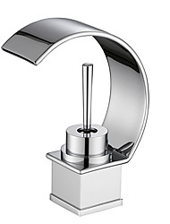 cheap -Bathroom Sink Faucet - Waterfall Chrome Centerset Single Handle One HoleBath Taps / Brass