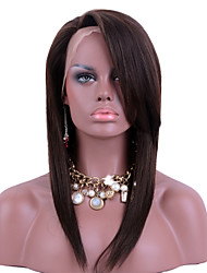 cheap -Remy Human Hair Full Lace Wig Side bangs style Brazilian Hair Straight Wig 130% Density with Baby Hair Natural Hairline African American Wig 100% Hand Tied Women's Short Medium Length Long Human Hair