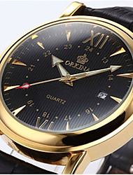 cheap -Men's Wrist Watch Quartz Leather Black 30 m Hot Sale Analog Charm Fashion - Gold