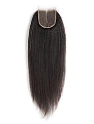 Недорогие -Бразильские волосы 4x4 Закрытие Прямой / Естественные прямые Бесплатный Часть / Средняя часть / 3 Часть Швейцарское кружево Натуральные волосы