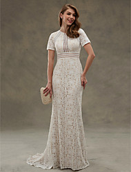 cheap -Sheath / Column Wedding Dresses Jewel Neck Floor Length Sheer Lace Short Sleeve Open Back See-Through with Lace Sash / Ribbon Draping 2021