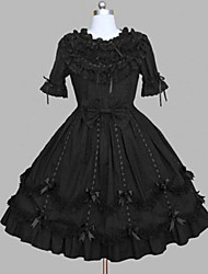 cheap -Princess One Piece Gothic Lolita Ruffle Dress Dress Women's Girls' Vintage Style Japanese Cosplay Costumes Plus Size Customized Black Ball Gown Vintage Lace Cap Sleeve Short Sleeve Knee Length