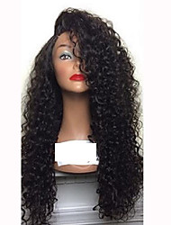 cheap -Human Hair Glueless Lace Front / Lace Front Wig Curly Wig 150% Natural Hairline / African American Wig / 100% Hand Tied Women's Medium Length / Long Human Hair Lace Wig