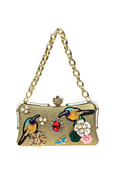 cheap -Women's Bags PU(Polyurethane) Evening Bag Rhinestone Satin Flower Metal Chain Flower Wedding Party Event / Party Gold Silver