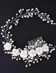 cheap -Tulle Tiaras / Hair Combs / Flowers with Feather 1 Event / Party Headpiece