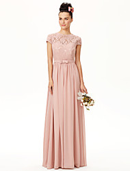 cheap -A-Line Jewel Neck Floor Length Chiffon / Corded Lace Bridesmaid Dress with Sash / Ribbon / Bow(s) / Pleats