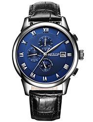 cheap -Men's Fashion Watch Mechanical Watch Automatic self-winding Leather Black 30 m Analog Black Blue