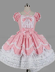 cheap -Princess Sweet Lolita Dress Women's Girls' Lace Japanese Cosplay Costumes Plus Size Customized Pink Ball Gown Vintage Cap Sleeve Short Sleeve Short / Mini