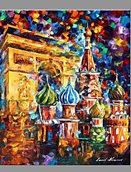 cheap -Hand-Painted Landscape Vertical Panoramic,Modern/Contemporary One Panel Canvas Oil Painting For Home Decoration