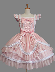cheap -Princess Sweet Lolita Vacation Dress Dress Women's Girls' Cotton Japanese Cosplay Costumes Plus Size Customized Pink Ball Gown Solid Color Fashion Cap Sleeve Short Sleeve Short / Mini / Tuxedo
