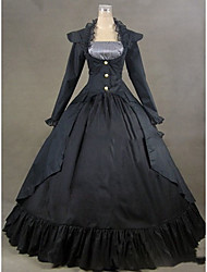cheap -Rococo Victorian 18th Century Dress Party Costume Masquerade Women's Satin Costume Black Vintage Cosplay Long Sleeve Floor Length Plus Size Customized