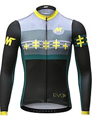 abordables -Mysenlan Homme Manches Longues Maillot Velo Cyclisme Hiver Toison Noir Rayure Cyclisme Maillot VTT Vélo tout terrain Vélo Route Des sports Vêtement Tenue / Expert / Expert / Encre importée d'Italie