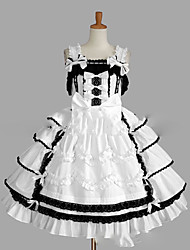 cheap -Princess Sweet Lolita Dress JSK / Jumper Skirt Women's Girls' Lace Japanese Cosplay Costumes Plus Size Customized White Ball Gown Vintage Cap Sleeve Sleeveless Short / Mini