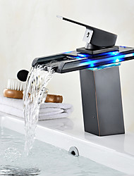 cheap -Centerset Waterfall LED indicator Oil-rubbed Bronze, Bathroom Sink Faucet