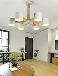 cheap -6-Light 75 cm LED Chandelier Wood / Bamboo Candle-style Wood Modern Contemporary 220-240V / 100-120V