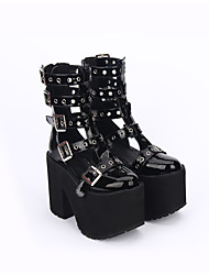 cheap -Men's Lolita Shoes Lolita Handmade Vintage Inspired Chunky Heel Solid Color Hollow-out Lolita 13 cm Black PU Leather / Polyurethane Leather Halloween Costumes