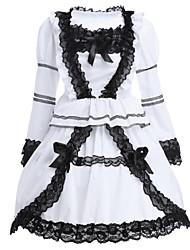 cheap -Classic Lolita Lolita Dress Women's Girls' Cotton Japanese Cosplay Costumes White Lace Long Sleeve Short Length / Classic Lolita Dress
