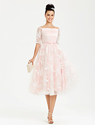 cheap -Ball Gown Lace Up Cocktail Party Prom Dress Bateau Neck Boat Neck Half Sleeve Tea Length Lace Satin with Sash / Ribbon Bow(s) 2020 / Illusion Sleeve