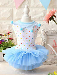 cheap -Dog Dress Dog Clothes Polka Dot Blue Pink Cotton Costume For Spring &  Fall Summer Women's Casual / Daily Fashion