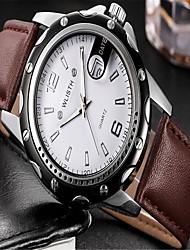 Недорогие -Муж. Модные часы Кварцевый Кожа Черный / Коричневый Аналоговый На каждый день - Белый Черный