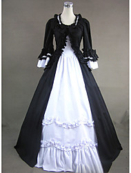 cheap -Gothic Victorian Medieval 18th Century Dress Party Costume Masquerade Women's Cotton Costume Black Vintage Cosplay Long Sleeve Floor Length Ball Gown