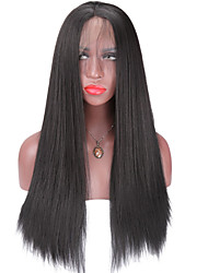 cheap -Synthetic Lace Front Wig Straight Yaki Straight Yaki Lace Front Wig Medium Length Long Natural Black Synthetic Hair Women's Natural Hairline African American Wig Black