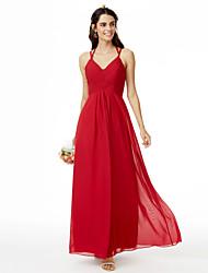 cheap -Sheath / Column Spaghetti Strap Ankle Length Chiffon Bridesmaid Dress with Criss Cross / Pleats