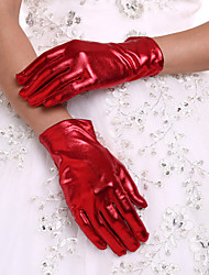 cheap -Faux Leather Wrist Length Glove Bridal Gloves With Ruffles