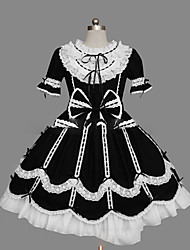 cheap -Princess Gothic Lolita Ruffle Dress Dress Women's Girls' Cotton Japanese Cosplay Costumes Plus Size Customized Black Ball Gown Vintage Cap Sleeve Short Sleeve Short / Mini / Gothic Lolita Dress