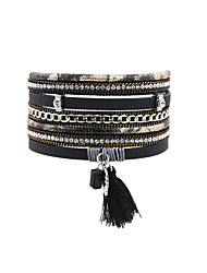 cheap -Women's Leather Bracelet Tassel Vintage Bohemian Fashion Boho Turkish Leather Bracelet Jewelry Beige / Gray / Blue For Christmas Gifts Wedding Party Special Occasion Anniversary Birthday