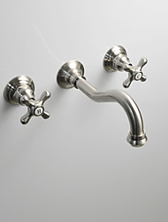 cheap -Bathroom Sink Faucet - Wall Mount Brushed Wall Mounted Two Handles Three HolesBath Taps