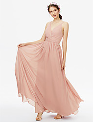 cheap -A-Line V Neck Floor Length Chiffon Bridesmaid Dress with Sash / Ribbon / Criss Cross / Pleats / Open Back