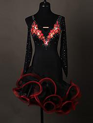 cheap -Latin Dance Women's Spandex / Organza Crystals / Rhinestones Long Sleeve Dress