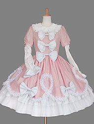 cheap -Princess Sweet Lolita Dress Women's Girls' Cotton Japanese Cosplay Costumes Plus Size Customized Pink Ball Gown Solid Color Fashion Cap Sleeve Short Sleeve Short / Mini / Tuxedo / High Elasticity