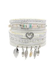cheap -Women's Leather Bracelet Tassel Heart Ladies Vintage Bohemian Fashion Boho Leather Bracelet Jewelry Black / Gray / Brown For Wedding Party Anniversary Birthday Party Evening Party / Evening