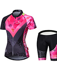 cheap -Malciklo Women's Long Sleeve Cycling Jersey with Shorts Black Geometic British Bike Jersey Tights Padded Shorts / Chamois Sports Polyester Coolmax® Elastane Geometic Mountain Bike MTB Road Bike