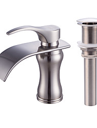 cheap -Faucet Set - Waterfall Nickel Brushed Centerset Single Handle One HoleBath Taps / Brass