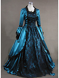 cheap -Rococo Victorian 18th Century Dress Party Costume Masquerade Women's Satin Costume Blue Vintage Cosplay Party Prom Long Sleeve Floor Length Ball Gown Plus Size Customized