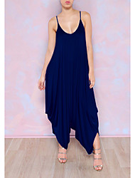 cheap -Women's Daily V Neck Royal Blue Oversized Jumpsuit Onesie, Fashion One-Size S M 3/4 Length Sleeve