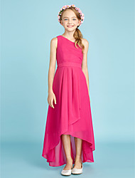 cheap -A-Line One Shoulder Asymmetrical Chiffon Junior Bridesmaid Dress with Bow(s) / Sash / Ribbon / Side Draping / Natural