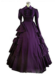 cheap -Gothic Lolita Dress Women's Girls' Party Prom Japanese Cosplay Costumes Plus Size Customized Purple Ball Gown Vintage Cap Sleeve Long Sleeve Floor Length
