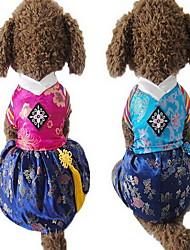 cheap -Dog Jumpsuit Dress Dog Clothes Fuchsia Blue Costume Silk Fabric Embroidered Wedding S M L