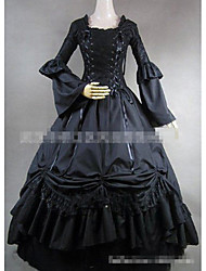 cheap -Gothic Lolita Elegant Vintage Inspired Dress Women's Girls' Japanese Cosplay Costumes Black Solid Color Floor Length / Gothic Lolita Dress