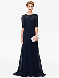 cheap -Sheath / Column Jewel Neck Sweep / Brush Train Chiffon / Beaded Lace Half Sleeve Sparkle & Shine / Elegant Mother of the Bride Dress with Beading / Appliques 2020