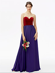 cheap -A-Line Sweetheart Neckline Floor Length Chiffon / Velvet Bridesmaid Dress with Pleats