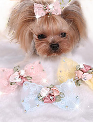 cheap -Dog Hair Accessories Puppy Clothes Bowknot Casual / Daily Dog Clothes Puppy Clothes Dog Outfits Yellow Pink Costume for Girl and Boy Dog Fabric One-Size