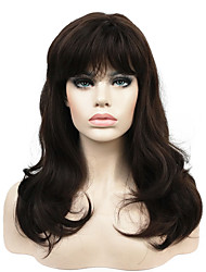cheap -new long wavy brown synthetic wig with bang for women