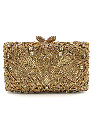 cheap -Women's Bags Metal Evening Bag Rhinestone Chain Metallic for Party / Event / Party Gold / Light Gold / Rhinestone Crystal Evening Bags